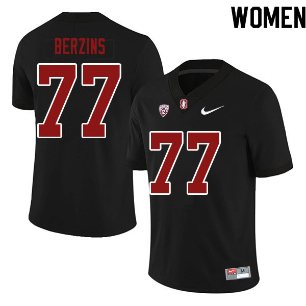 Women #77 Logan Berzins Stanford Cardinal College Football Jerseys Sale-Black